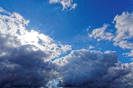 nebo, modra, oblaki, narave, oblačno, poletje, modro nebo