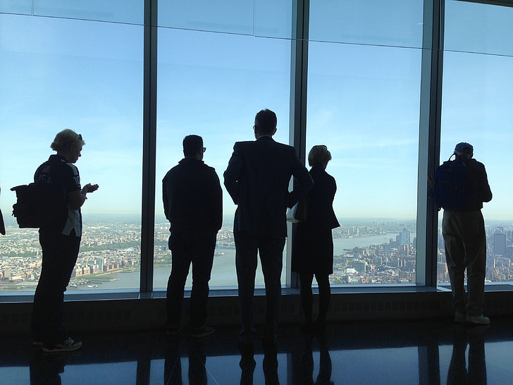 one world trade center, view, people, manhattan, usa, nyc, landmark