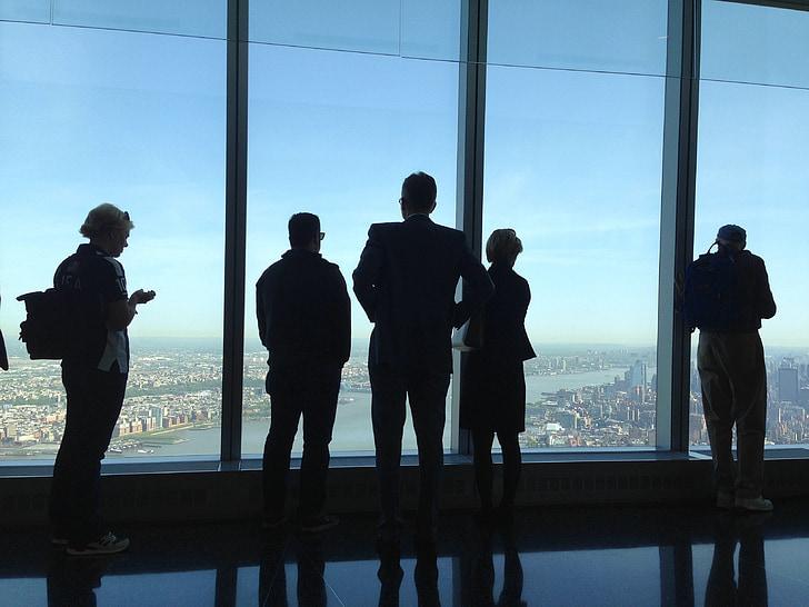 vienā pasaules tirdzniecības centra, skats, cilvēki, Manhattan, ASV, NYC, orientieris