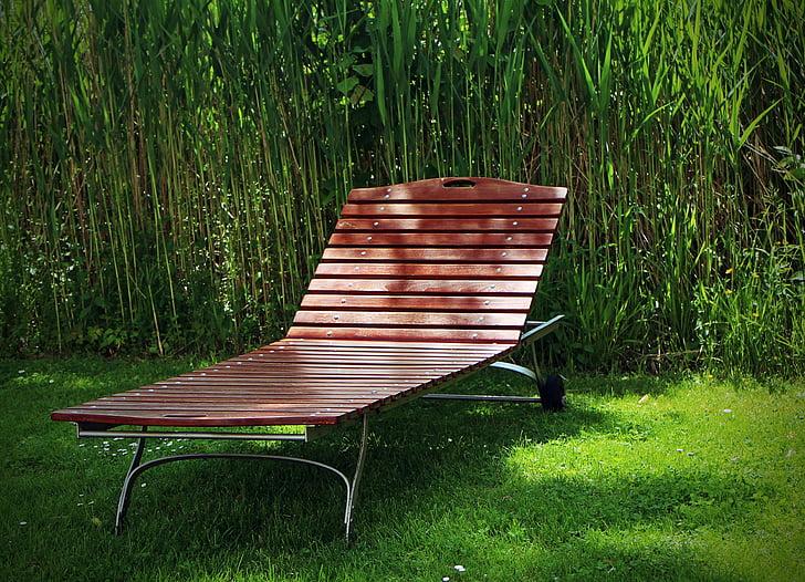 tuin-bed, ligstoel, hout liggen, Luik (provincie), rest, weide, gras