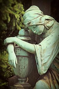sorg, kvinde, skulptur, sten figur, stenfigurer, Rock udskæring, figur