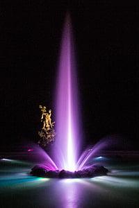 Salzburg, Austrija, noć, Mirabell, Fontana, noć fotografija, svjetla