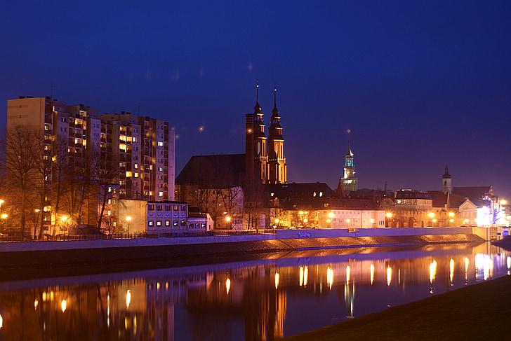 Opole, la Cattedrale, Cattedrale di opole, morbillo, Foto night, notte, Opole entro la notte
