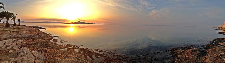 posta de sol, Mar, menys, màniga, Múrcia, Espanya, sol