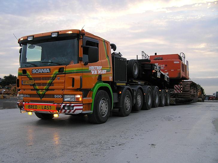 heavy transport, truck, scania, transport, transporter