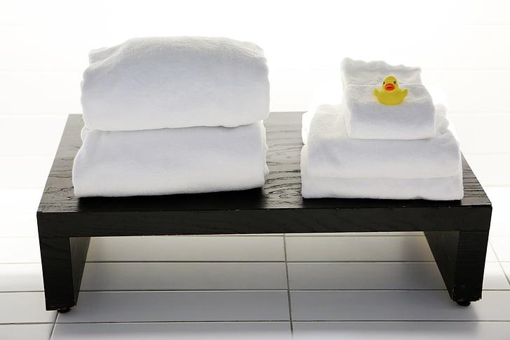 ผ้าขนหนู, ตาราง, ห้องน้ำ, บริการซักรีด, ทำความสะอาด, เป็ด, สปา