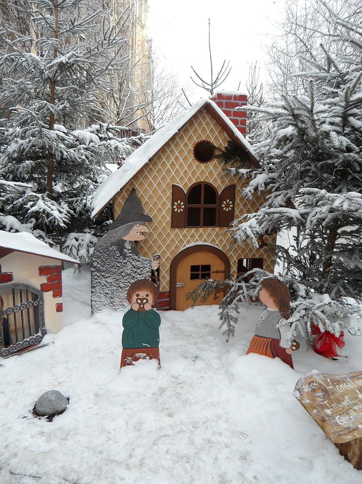 eventyr, eventyr skog, snø, snø, hans og Grete, heksen, witch's house