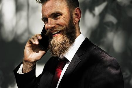beard, business, business people, businessman, communicate, communication, connection