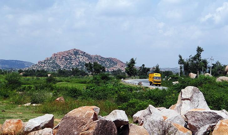 altiplà, roques, turons, turons, l'autopista, camió, Karnataka