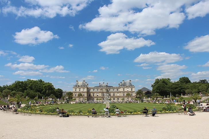 Palau de Luxemburg, Castell, París, dies, pm, núvol, Parc