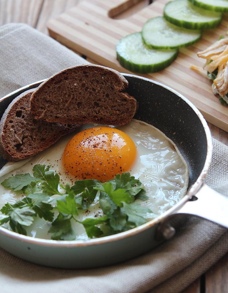 อาหารเช้า, อาหาร, ไข่, โภชนาการ, แผ่น, ขนมปัง, อาหารกลางวัน