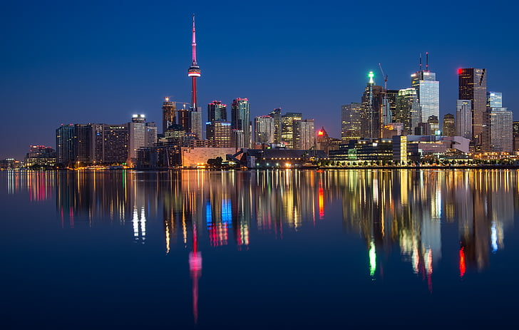 buildings, can, cn tower, canada, colorful, night, ontario