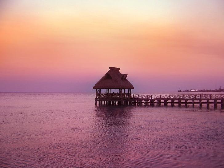 Pau, posta de sol, resta, Mar, natura, paisatge, mar en calma