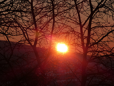 sunrise, mood, red, romantic, nature, back light, morgenstimmung