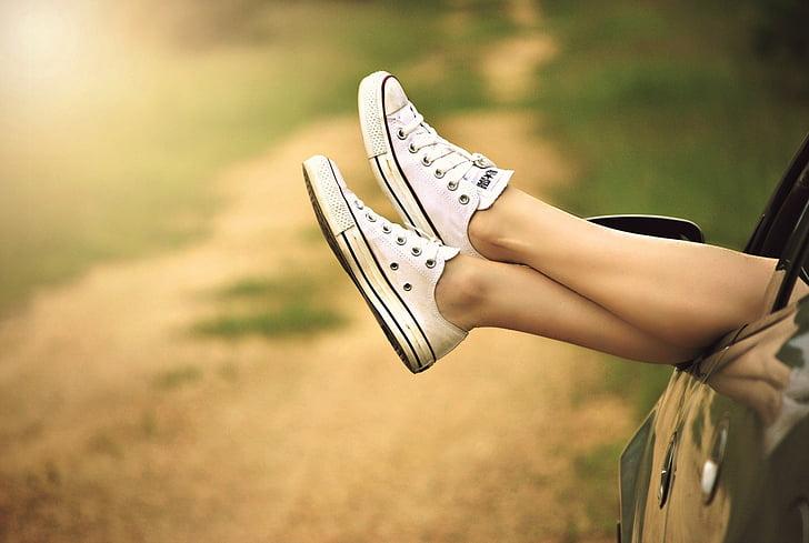 kājas, logs, automašīnas, zemesceļa, atpūsties, sieviete, daba