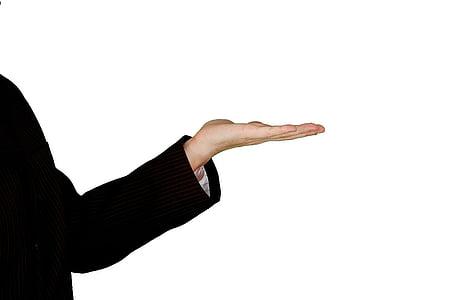 stânga, umane, Palm, afaceri, mână, femeie de afaceri, alb