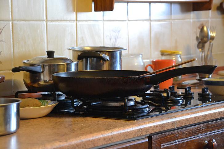 Küche, Kochen, Kochen, Bratpfanne, Brennen, Braten, Fry