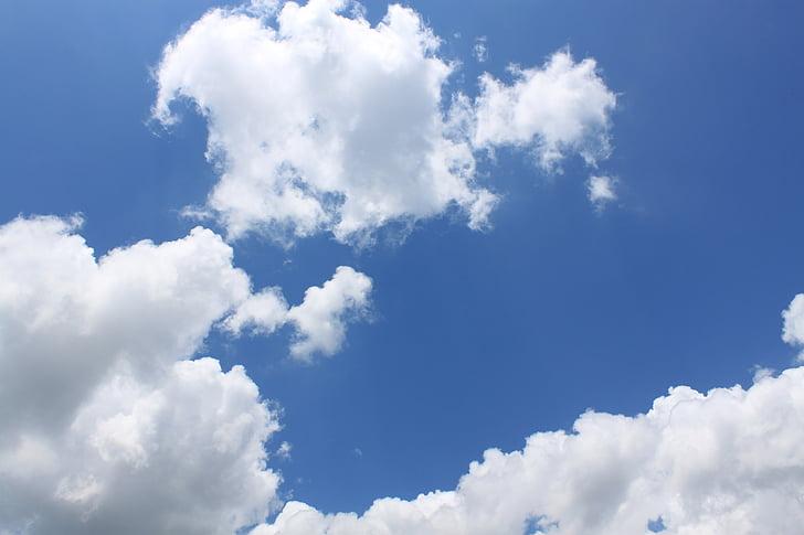 mākoņi, debesis, debess mākoņi, zila, zilas debesis, mākoņi, daba, laika apstākļi