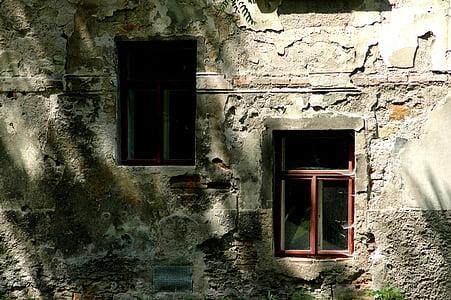 stary dom, okno, cień, ściana, stary, Architektura, Dom