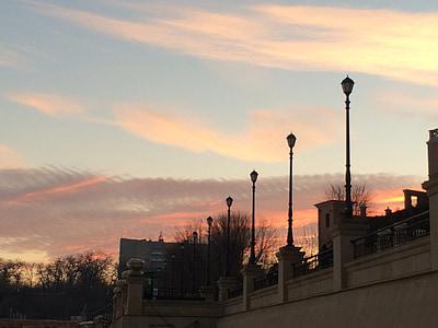 debesis, saulriets, rozā, saulrieta debesīm, vakarā, mākoņi, vakara debesis