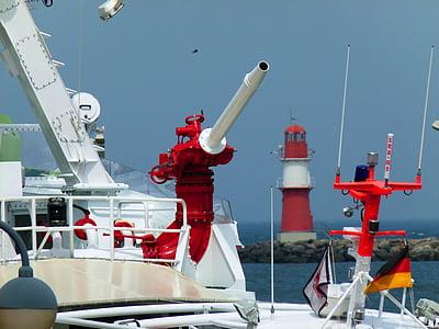 Warnemünde, Lighthouse, Östersjön, kusten, Holiday, Sky, badort