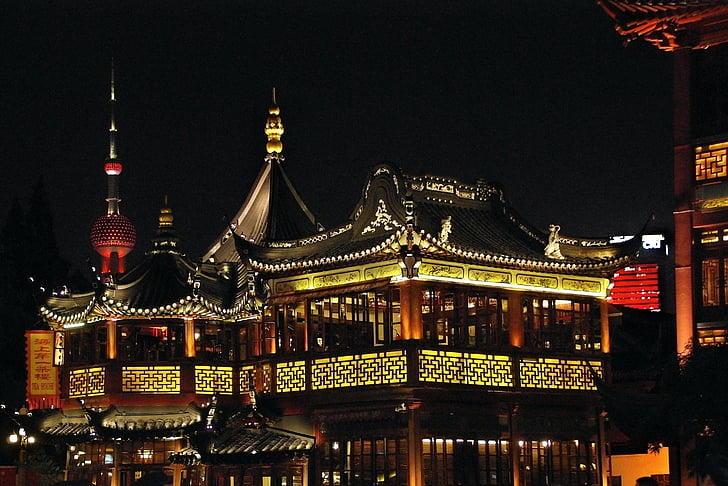 Hiina, Shanghai, Vanalinn, valgustus, pärl Orient
