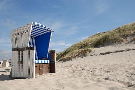 scaun de plaja, Sylt, plajă, cluburi, mare, cer, plaja cu nisip