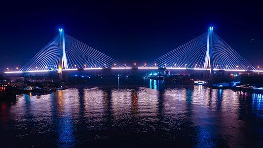 Cantão, ponte do buraco de guindaste, visão noturna, ponte - cara feita estrutura, arquitetura, Rio, à noite