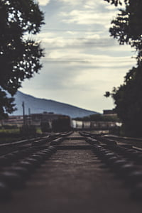 infrastructure, outdoors, perspective, rail, railroad, railway, track