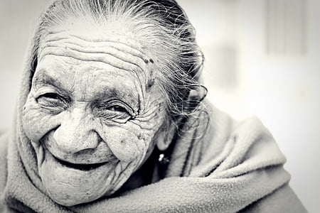 black-and-white, close-up, content, elderly, grandma, happy, old