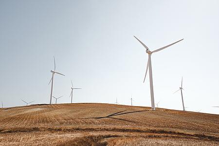 bianco, Mulini a vento, marrone, campo, Mulino a vento, montagna, solare