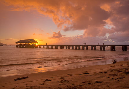 beach, dawn, dusk, ocean, pier, sand, sea