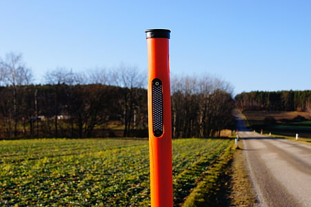 side of the road, road, cat's eye, sky, road post, reflector