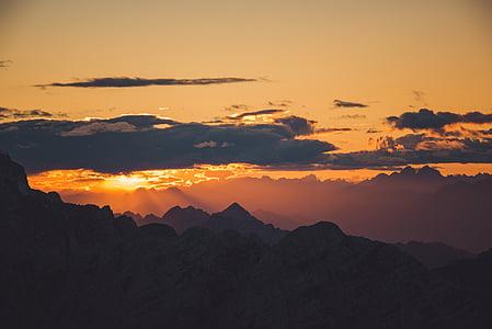 moln, landskap, bergskedja, bergen, naturen, Klippiga bergen, soluppgång