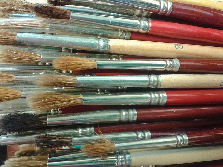 brosse, brosse de peinture, brosse à cheveux, peinture, brosse à cheveux, Brosse soies, peinture