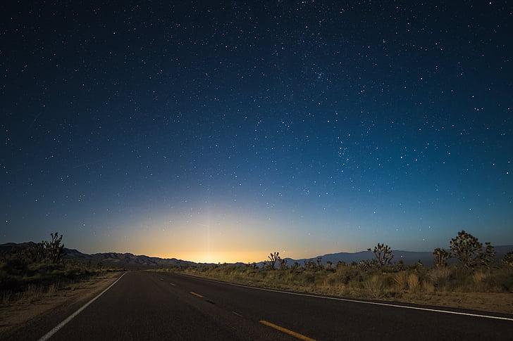 nit, a l'exterior, carretera, escèniques, cel, estrelles, viatges