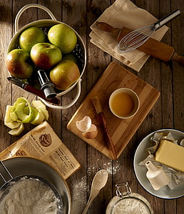 ingredients, apples, flower, eggs, butter, organic, raw food