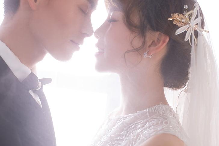 Yêu, lãng mạn, cô dâu, chú rể, headshot, hai người, người lớn chỉ