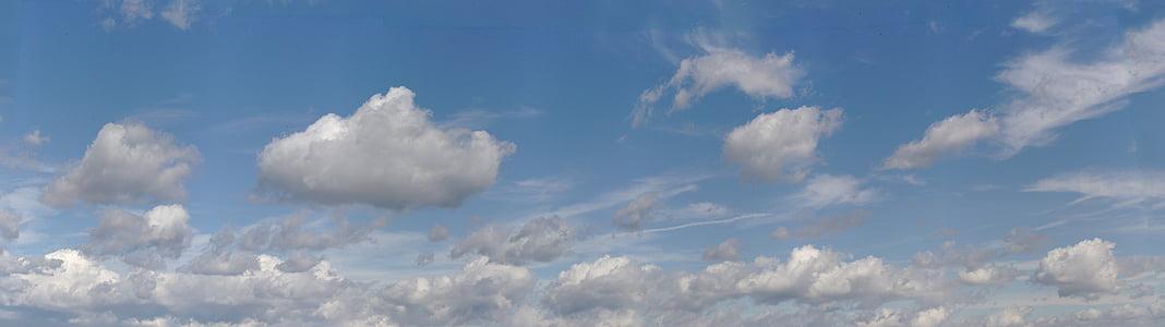 niebo, chmury, panoramy, błękitne niebo, Cumulus, widescreen, pokryte niebo
