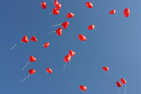 globus, cel blau, blau, cel, volar, cor, l'amor