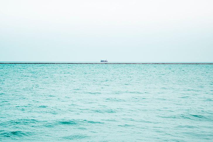 boat, sea, daytime, ocean, water, horizon, sky