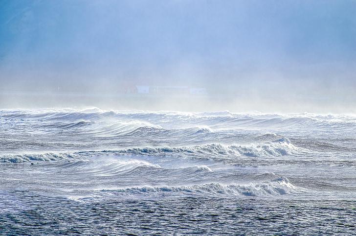 hullámok, Sky, Surf, kék, spray, tenger, kültéri