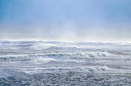 κύματα, ουρανός, surf, μπλε, σπρέι, στη θάλασσα, εξωτερική
