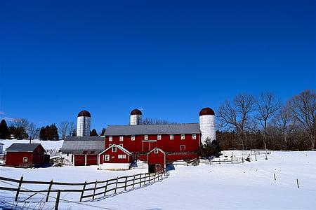 farm, snow, silo, barn, fence, wooden, winter
