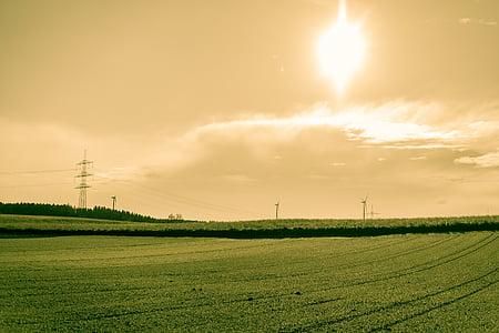 поле, орни, слънце, мощност полюси, земята, обработваема земя, небе