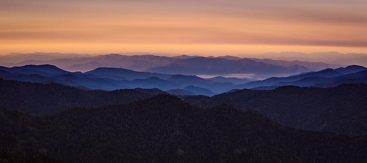 Alba, nebbia, paesaggio, catena montuosa, montagne, natura, Panoramica
