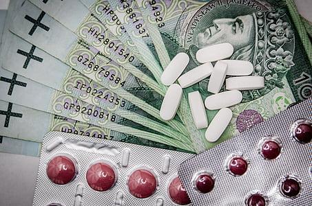 zdravila, denar, zdravilo, tablet, Lekarna, medicinske, bolezni