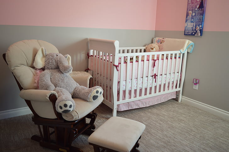 nursery, crib, chair, bedroom, room, house, home