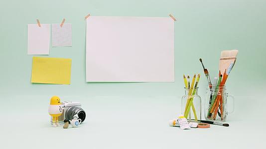 绘制, 油漆, 注意, 办公桌, 娃娃, 笔刷, colorpencil