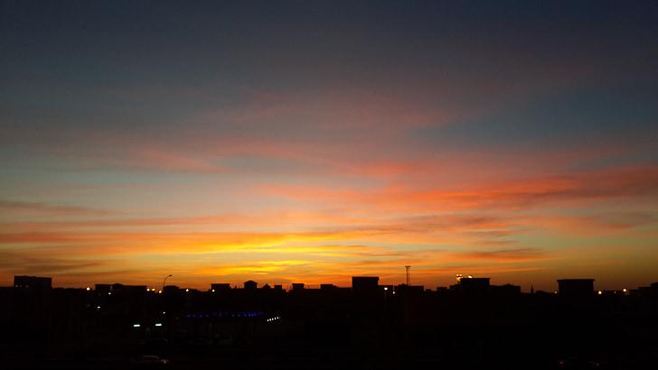 hermosa la puesta de sol en la ciudad de, mi foto, disfrutar de